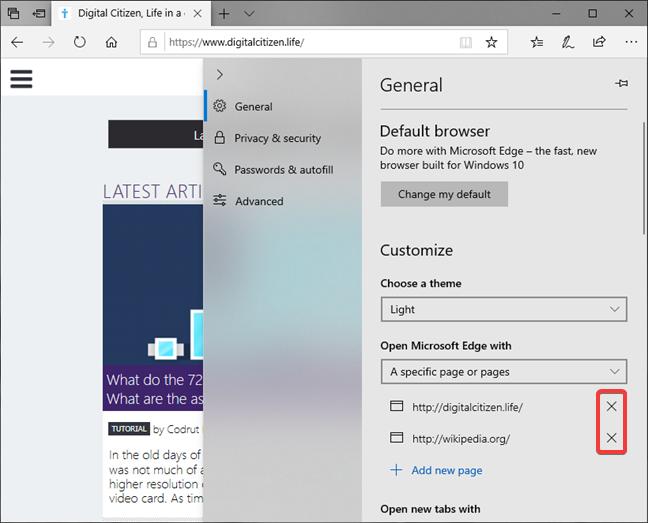 Cómo eliminar una página de inicio en Microsoft Edge