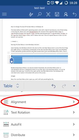 Microsoft Word, Android, documentos, tablas, insertar, editar, estilo