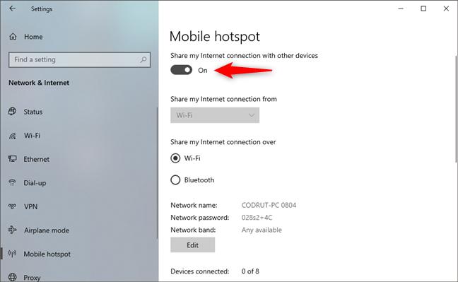 Habilite el hotspot de Windows 10
