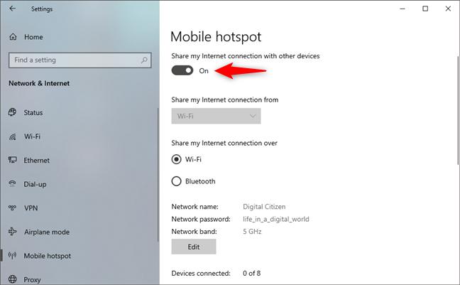 Encendido del hotspot de Windows 10