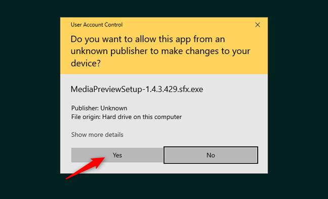 Otorgar permiso para la instalación de la aplicación Media Preview