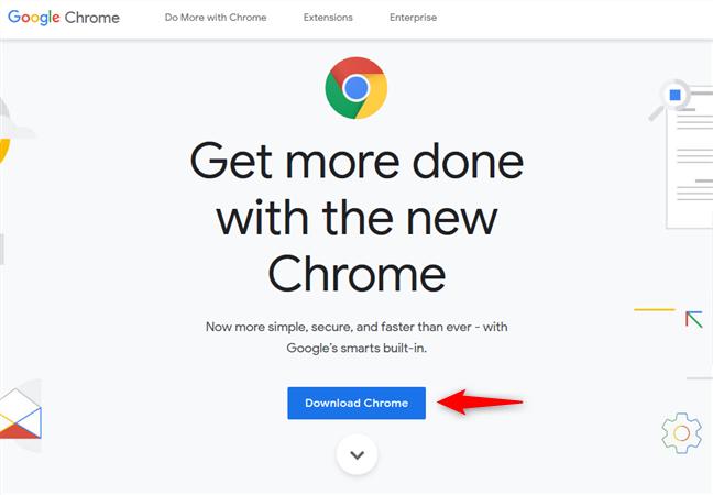 El enlace Descargar Chrome en el sitio web de Chrome