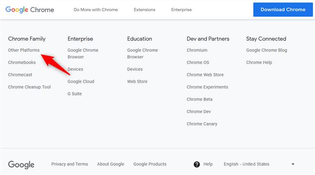 Enlaces a Chrome para otras plataformas