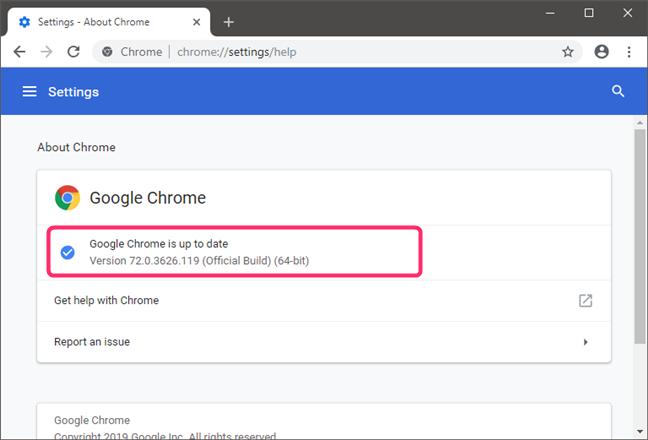 Comprobando la versión de Google Chrome