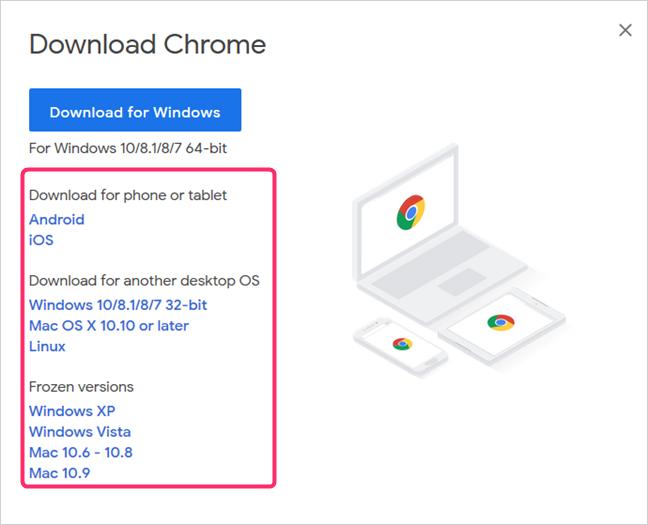 Google Chrome para otros sistemas operativos, escritorio y móvil