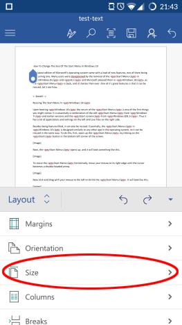 Android, Microsoft, Office, Word, documento, página, diseño, márgenes, formato, impresión