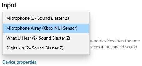 La lista Elija su dispositivo de entrada de la sección Sonido en la aplicación Configuración