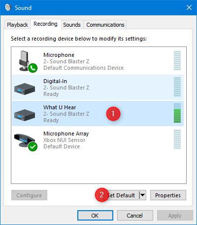 Configuración del dispositivo de grabación predeterminado en la ventana Sonido
