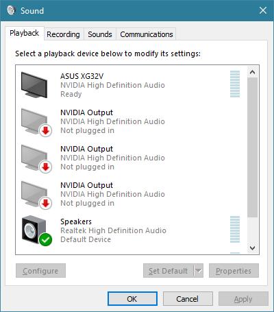 La ventana de sonido de Windows 10