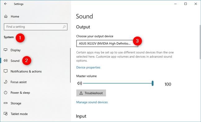 La lista Elija su dispositivo de salida de la sección Configuración de sonido
