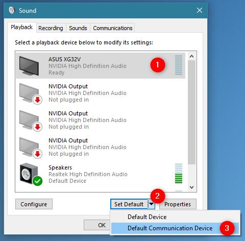 Configuración de un dispositivo de comunicación predeterminado en Windows 10