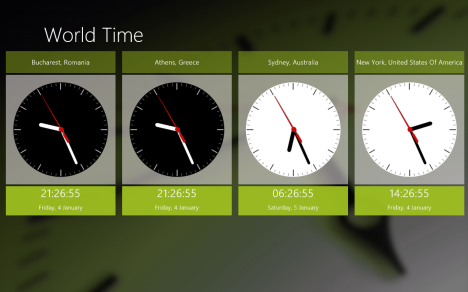 Windows 8 - Mosaico de reloj en vivo - Hora mundial