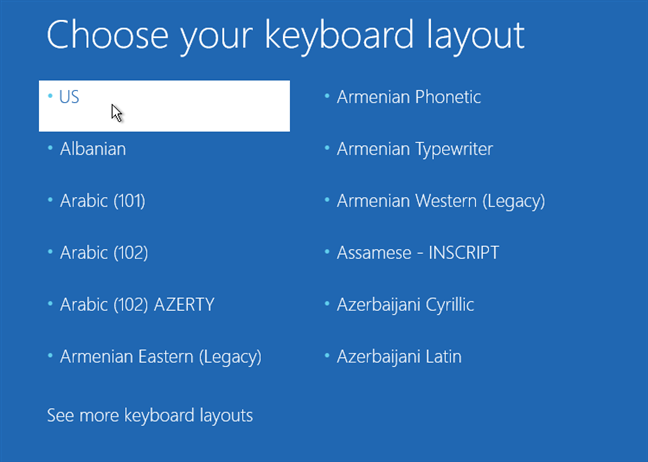 Elegir una distribución de teclado