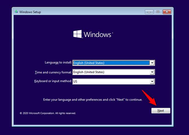 El asistente de instalación de Windows