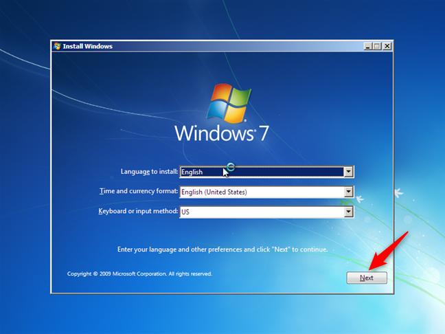 El asistente de instalación de Windows 7