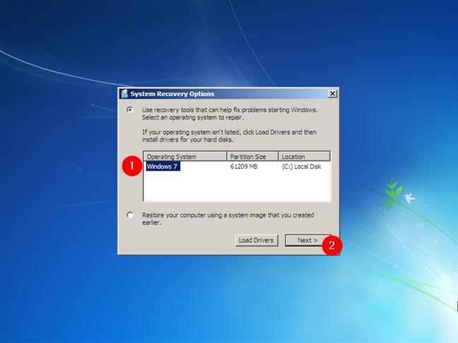 Opciones de recuperación del sistema en Windows 7