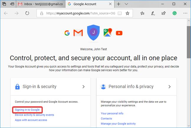 Seleccione Iniciar sesión en Google en la página de la cuenta de Google.