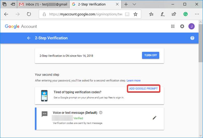 Agregue el mensaje de Google a la verificación en dos pasos de Google