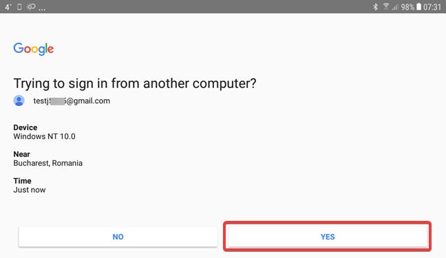 Validar el mensaje de Google para la verificación en dos pasos