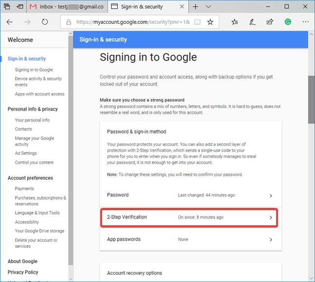 Acceda a la configuración de la verificación en dos pasos para su cuenta de Google