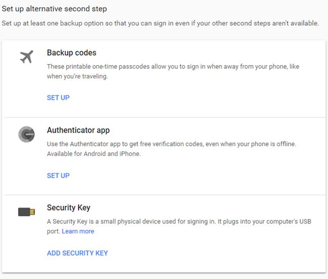 Alternativas para el segundo paso en la verificación en dos pasos de Google