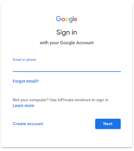 Inicie sesión en su cuenta de Google