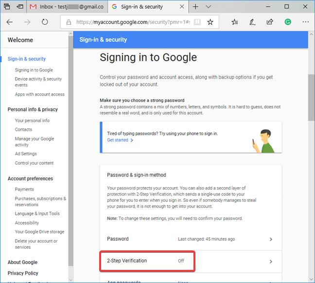 La verificación en dos pasos de Google aparece como desactivada