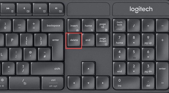 La tecla Eliminar en un teclado estándar