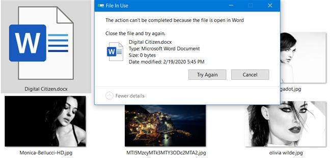 Error de archivo en uso, en Windows 10