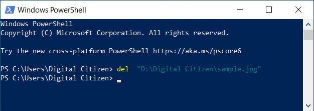 Eliminar un archivo de PowerShell