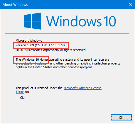 Windows 10 Home con actualización de octubre de 2018