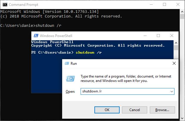 Reinicie Windows 10 con el comando de apagado
