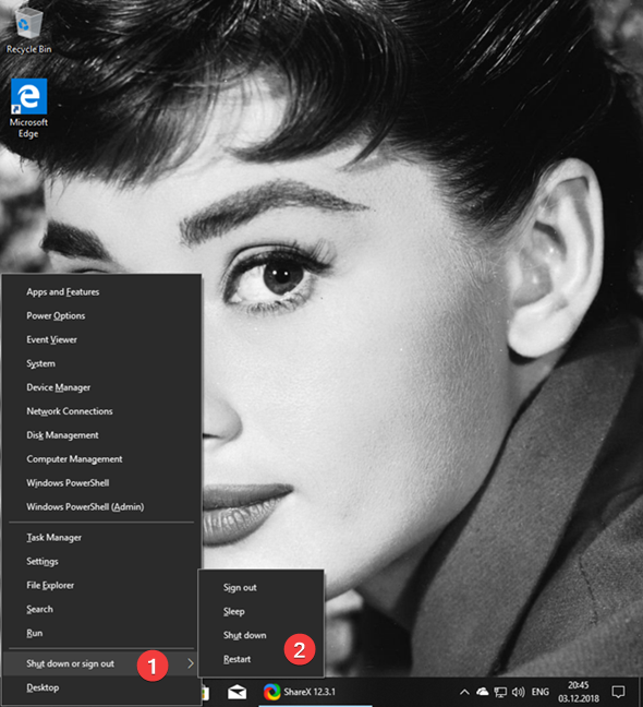 Apague o reinicie Windows 10 desde el menú WinX