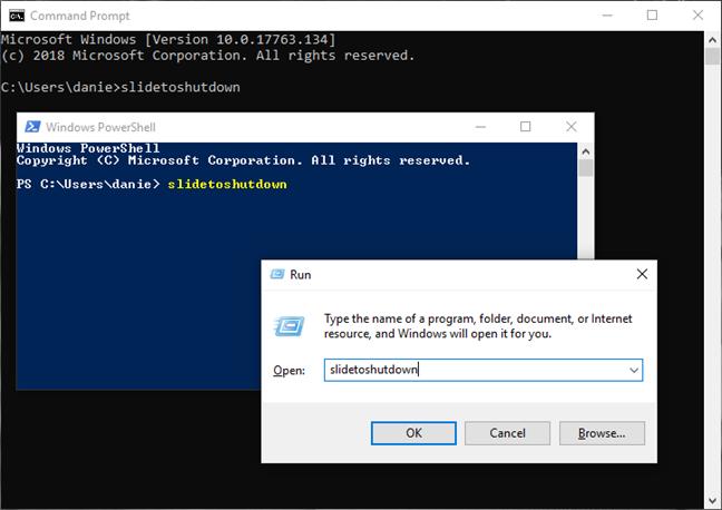 Apague Windows 10 con el comando slidetoshutdown