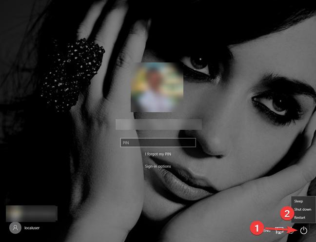 Apague o reinicie Windows 10 desde la pantalla de bloqueo