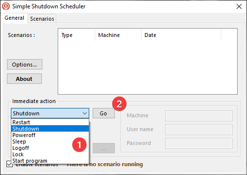 Acción inmediata en Simple Shutdown Scheduler