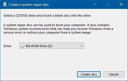 Windows, reparación del sistema, disco