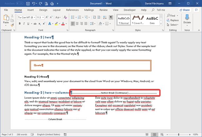 Salto de sección (continuo) en Microsoft Word