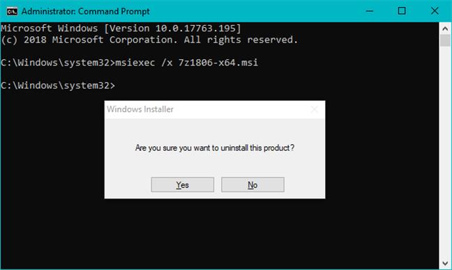 Desinstalar un programa usando el comando msiexec en un archivo MSI