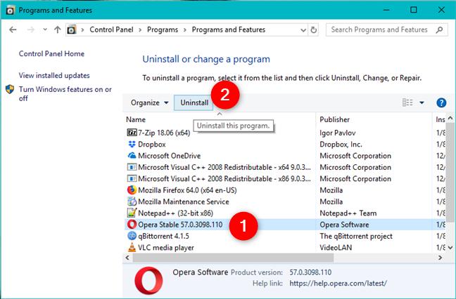Desinstalar un programa usando el Panel de control