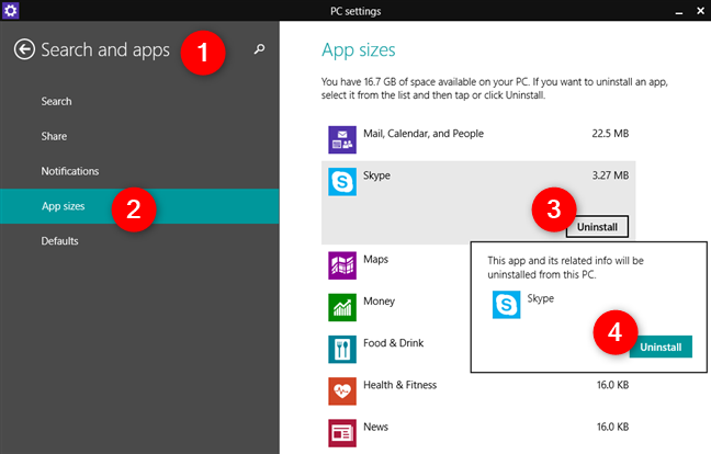 Desinstalar una aplicación de Windows 8.1, usando la configuración de PC