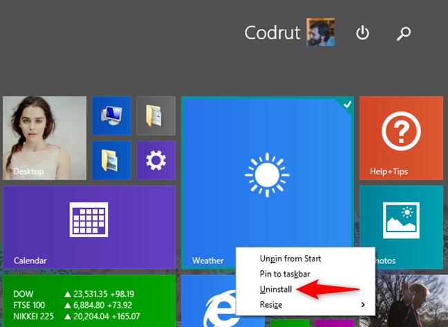 Desinstalar una aplicación usando la pantalla de Inicio de Windows 8.1, usando un mouse