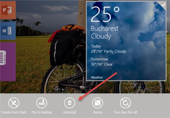 Desinstalar una aplicación usando la pantalla de Inicio de Windows 8.1