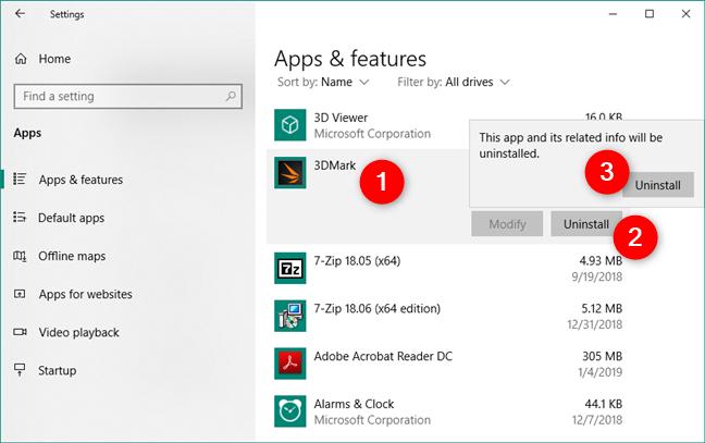Desinstalar una aplicación de Windows 10, usando la Configuración