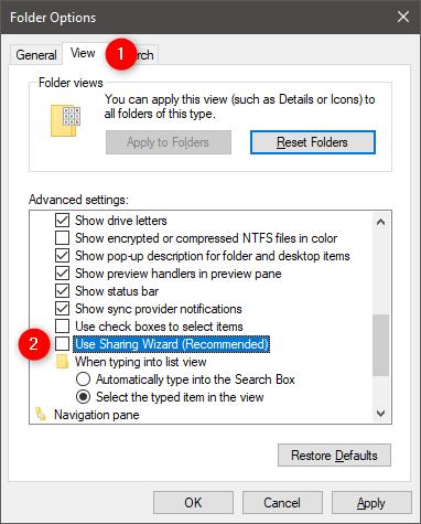 La configuración Usar el Asistente para compartir (recomendado) en el Explorador de archivos