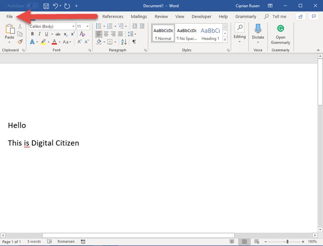 La pestaña Archivo en Microsoft Word