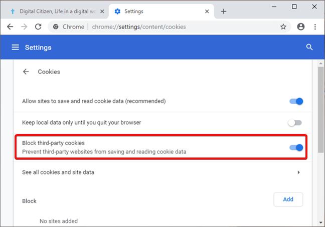 Bloquear cookies de terceros en Google Chrome