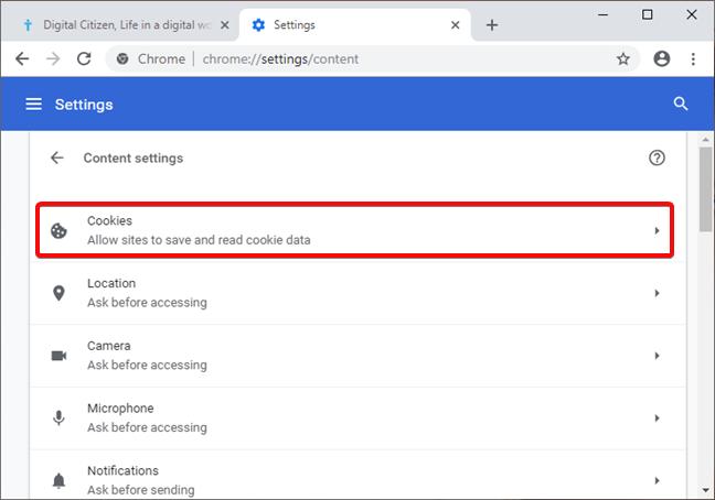 Abrir la configuración de cookies en Google Chrome