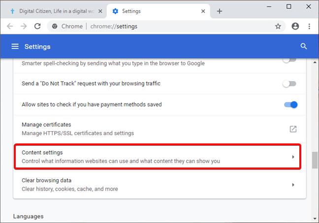 Abrir la configuración de contenido en Google Chrome