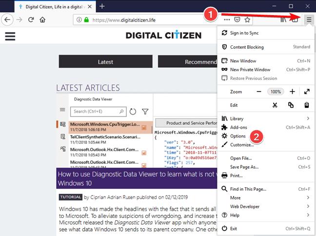 Abrir opciones en Mozilla Firefox